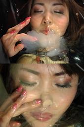 鼻の穴から精子吸引する美女