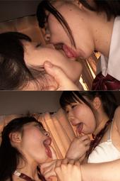 離れ離れになる女子校生カップルの濃厚顔面舐め合いレズキス